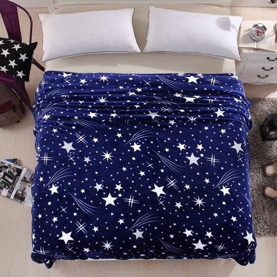 Blue Star Super Soft Flannel Fleece Sofa Blanket Throw Bed