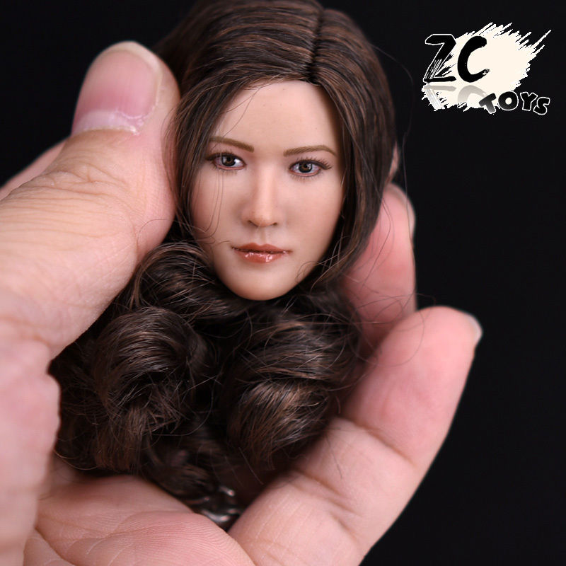 1/6 T003 Asian Girl Female Brown Hair Head For 12 Figure Body top habbies super duck carving 1 6 sdh001 a b asian girl head sculpt black brown hair for female phichen jiaodoll body figure