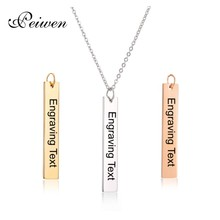 Personalized Blank Bar Pendant Necklace Gold Silver Rose Stainless Steel Custom Name Plate Engrave Word Letters Jewelry