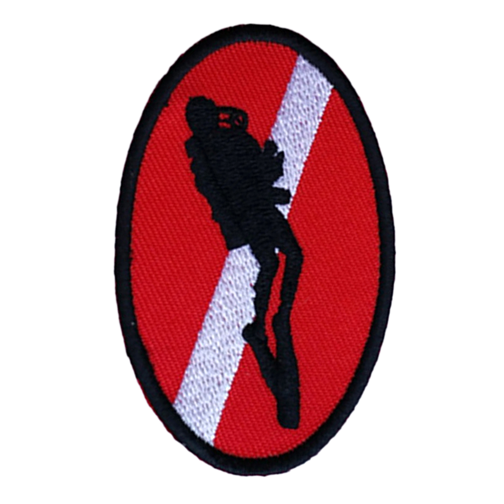 Perfeclan Ellipse Diver Down Flag With Diver Patch Patches Backpack Badge 70 X 45mm Scuba Diving Dive Iron On Embroidered