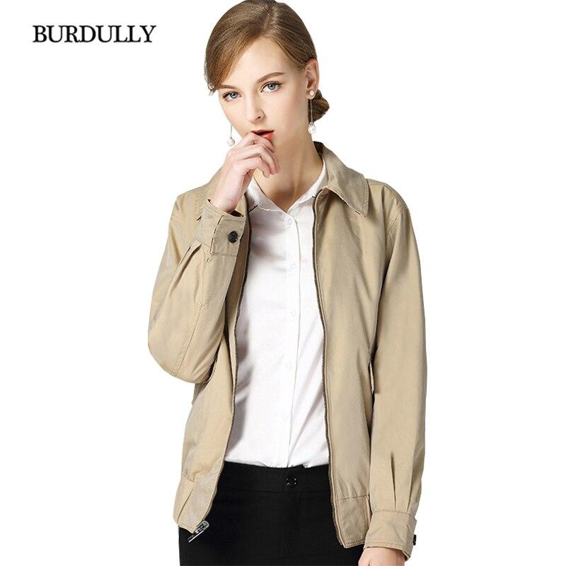 Polyester Vêtements Manteau Court Zipper Bureau 2018 Femme down Streetwear Mode Pardessus Khaki Turn Lâche Col Nouvelle Burdully Coton qg6n7f8f