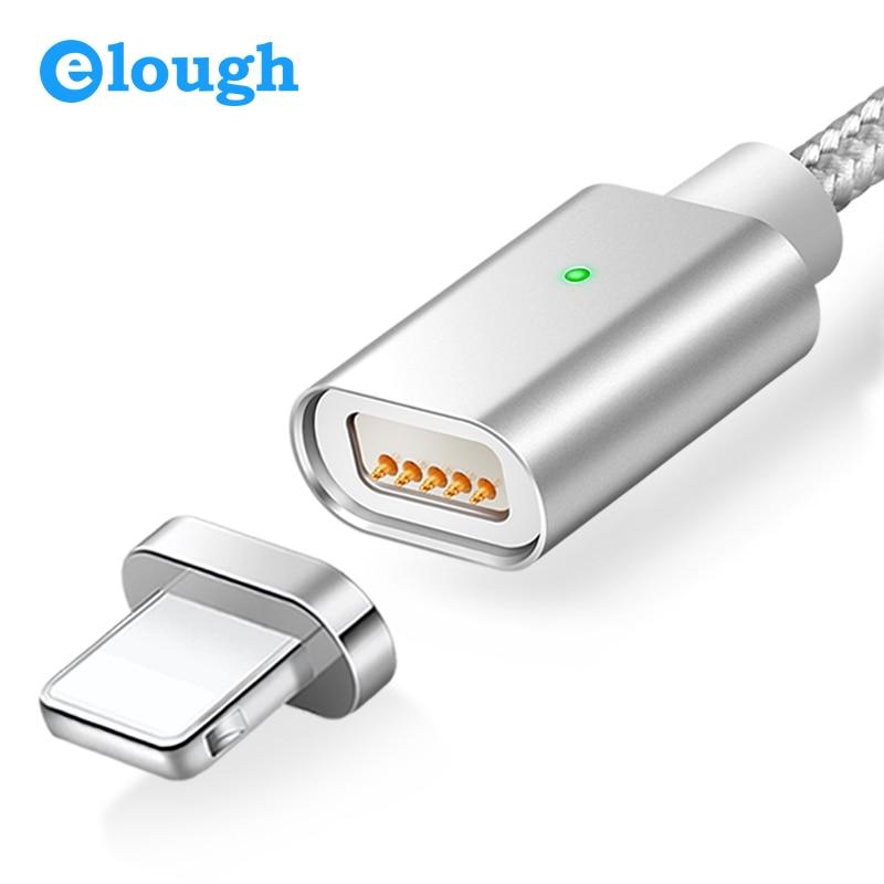 Elough E04 câble de chargeur magnétique pour iPhone 5 5s 6 6s 7 Plus téléphones Charge rapide Max 2.4A Nylon aimant chargeur câbles de données fil