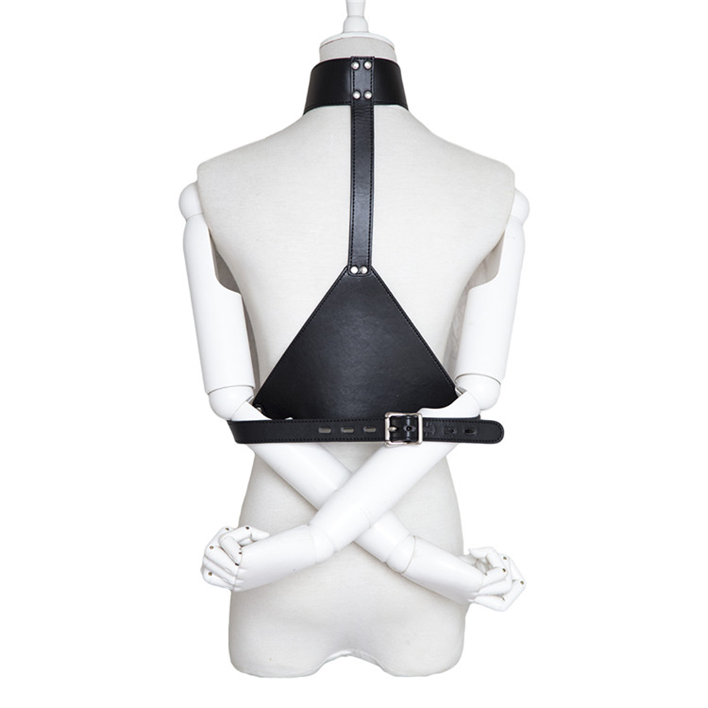 DOMI Triangular Smooth PU Leather Collars Arms Bondage For Women Sex Game