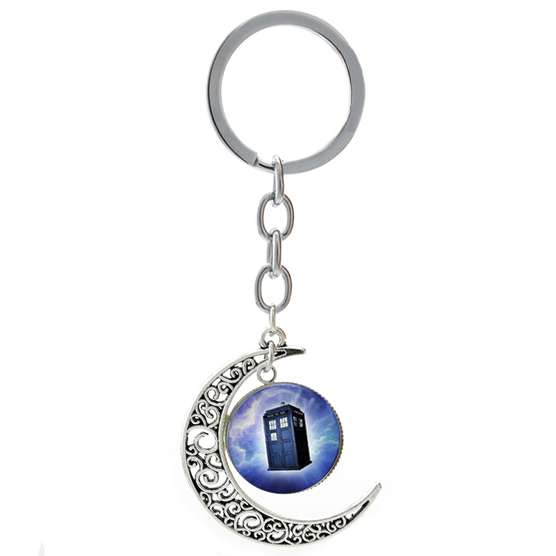 Fashion Dr Who Police Call Tardis key chain ring movie superhero doctor who moon pendant keychain planet spacecraft jewelry T177