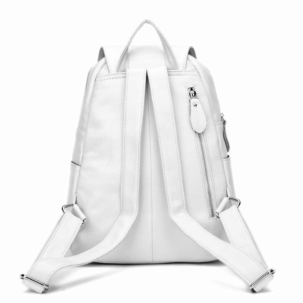 ZENCY 100% Hakiki Gerçek Deri Gümüş Donanım Kadın Bayanlar Kız Gümüş Gri Beyaz Pembe Sırt Çantası Üst Katman Dana Okul Çantaları
