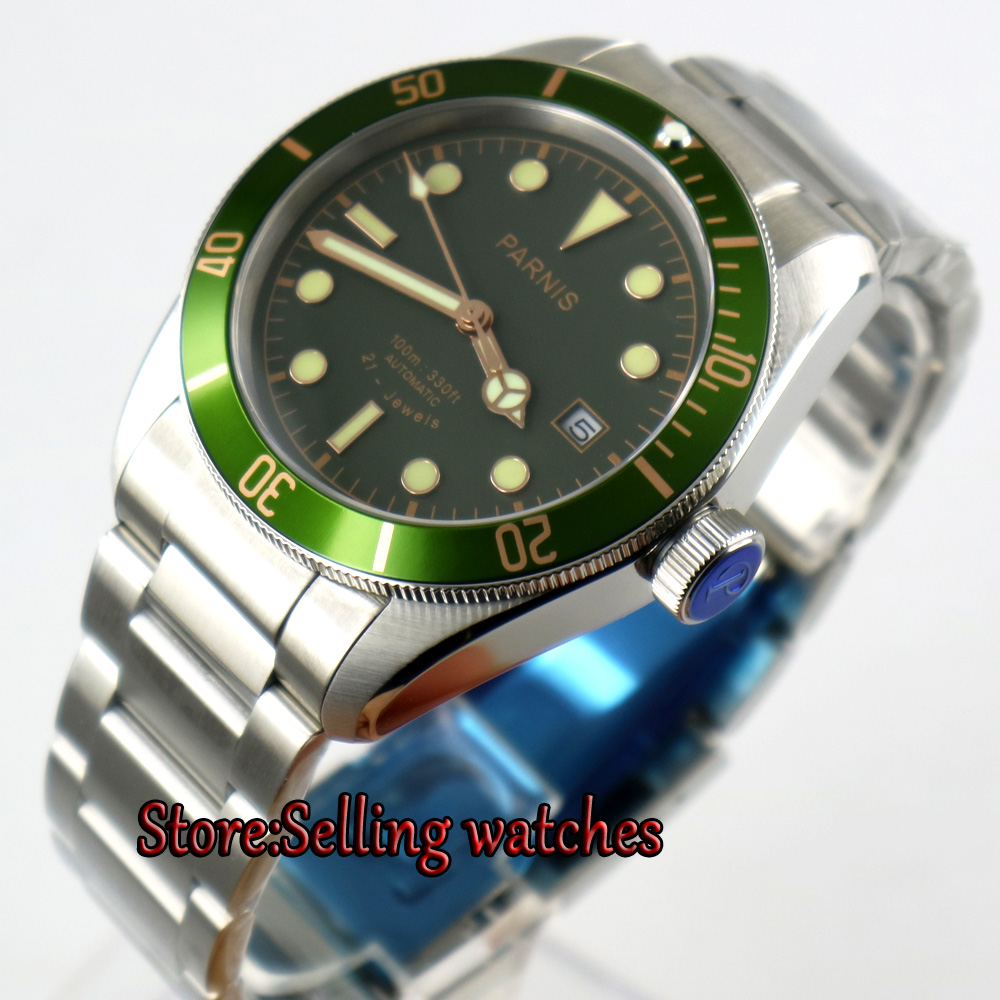 new Parnis 41mm Green dial Sapphire Glass date stainless steel strap miyota 8215 Automatic mens Watch 42mm parnis withe dial sapphire glass miyota 9100 automatic mens watch 666b