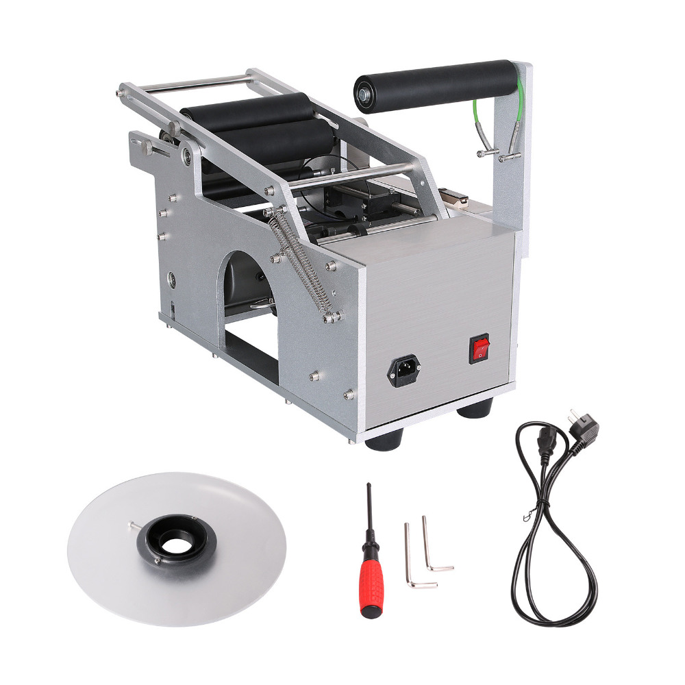 Free Ship To EU Semi-automatic Round Bottle Labeling Machine Electric Printer Coding Packing Machine
