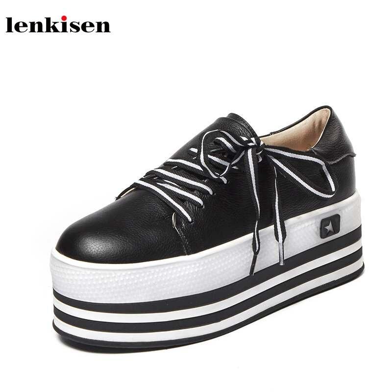 Lenkisen round toe strange lace up platform spring causal shoes high heel solid novelty style fashion women vulcanized shoes L08