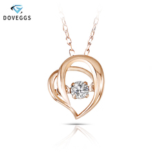 DovEggs Heart Shaped Rose Gold Ladies Diamond Pendant Necklace 10K Dancing Setting Link Chain For Women