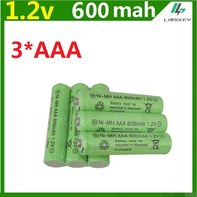 Rechargeable 3 pcs <font><b>AAA</b></font> Battery 600mAh 1.2V Ni-MH 3A Neutral Battery 500 Times Charging for Flashlight Toys Electronic Etc. image