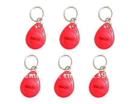 Free Shipping 100pcs/Lot Rfid Tag Access Control Smart Card 125Khz keyfobs EM4100 Red