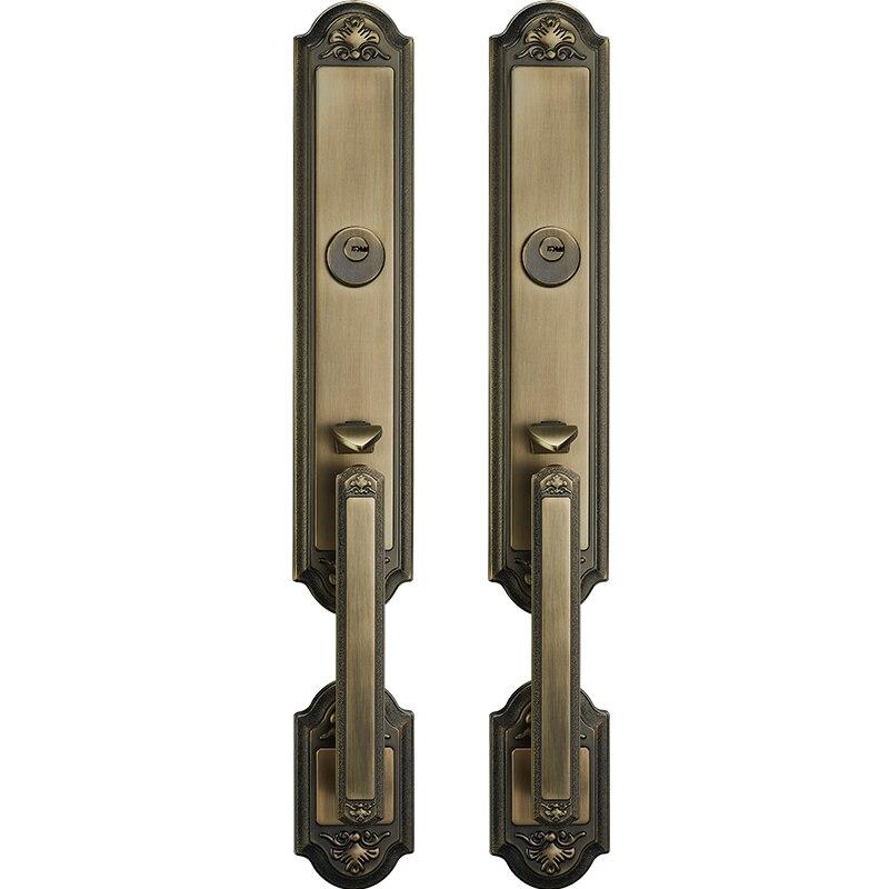 Nuodeli Villa Door Mute Lock Set Interior Simplicity Elegance Door Lock with Green Bronze Door Handle