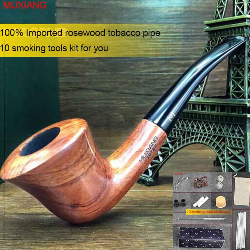 MUXIANG 10 smokingTools Kit kevazingo woodTobacco Pipes 9mm Filter Solid Wood Bent Smoking Pipe Zulu Masculine Gaverør ad0019
