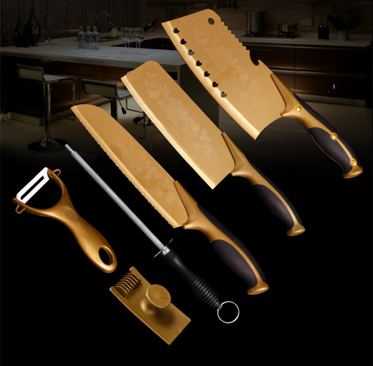top quality kitchen knife cleaver titanium golden