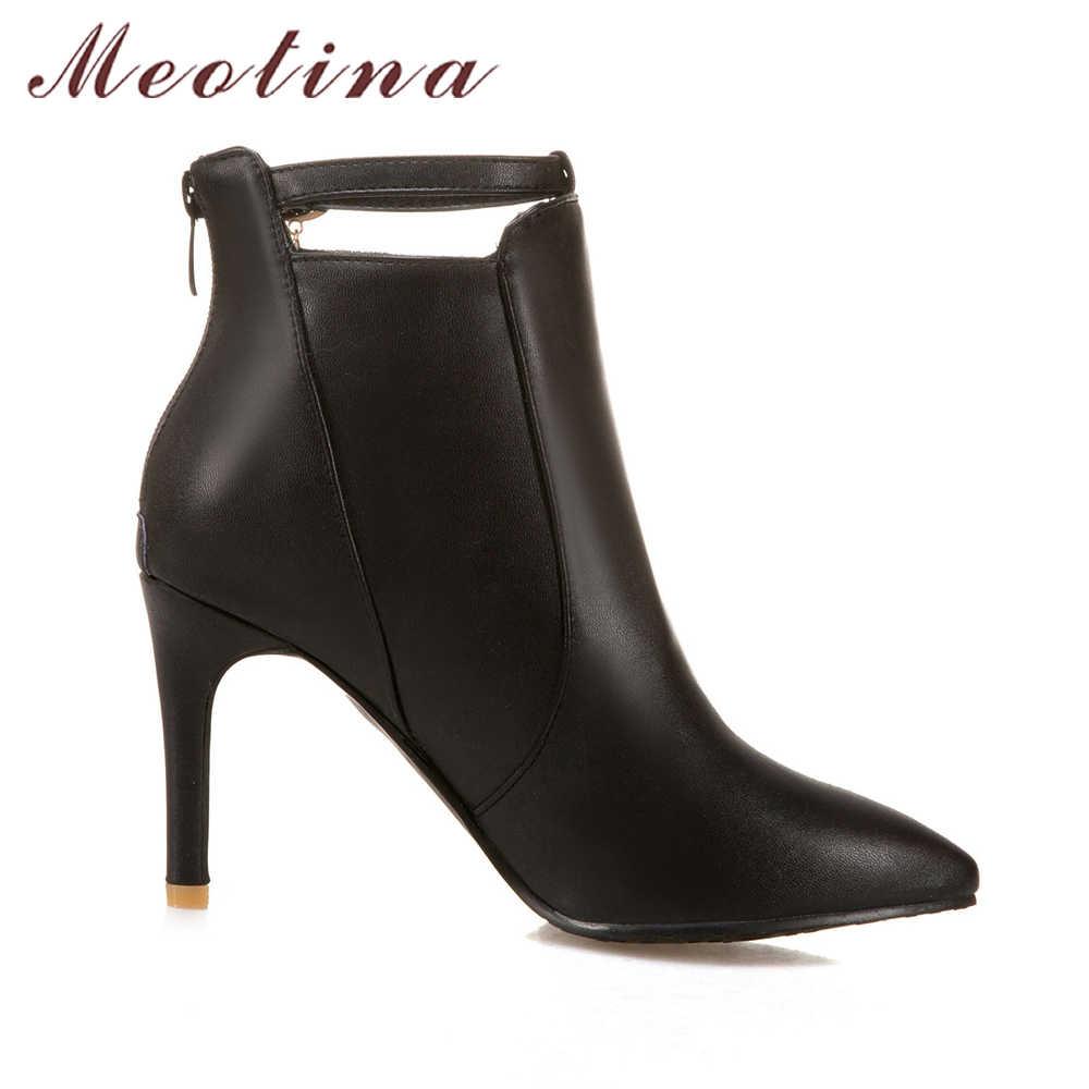 Meotina/женские ботинки, Зимние ботильоны на высоком каблуке, белые ботинки на молнии, Женская Осенняя обувь с острым носком, обувь ручной работы, цвет черный, желтый