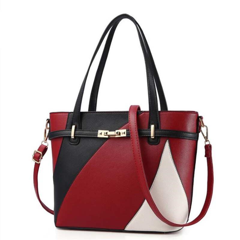 New Women Leather Handbags Shoulder Bag Women's Casual Tote Bag Female Patchwork Handbags High Quality Main Ladies Hand Bags new women leather handbags shoulder bag women s casual tote bag female patchwork handbags high quality main ladies hand bags