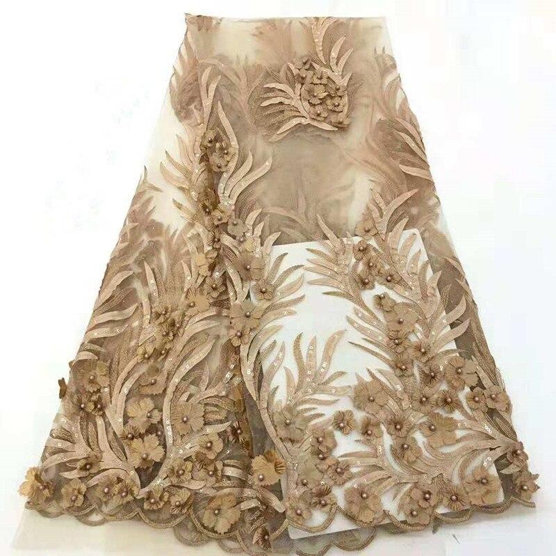 FolaSade dernières paillettes paillettes africain 3D brodé fleur maille tissu perles de luxe français dentelle tissu Tulle Net tissu TZ013