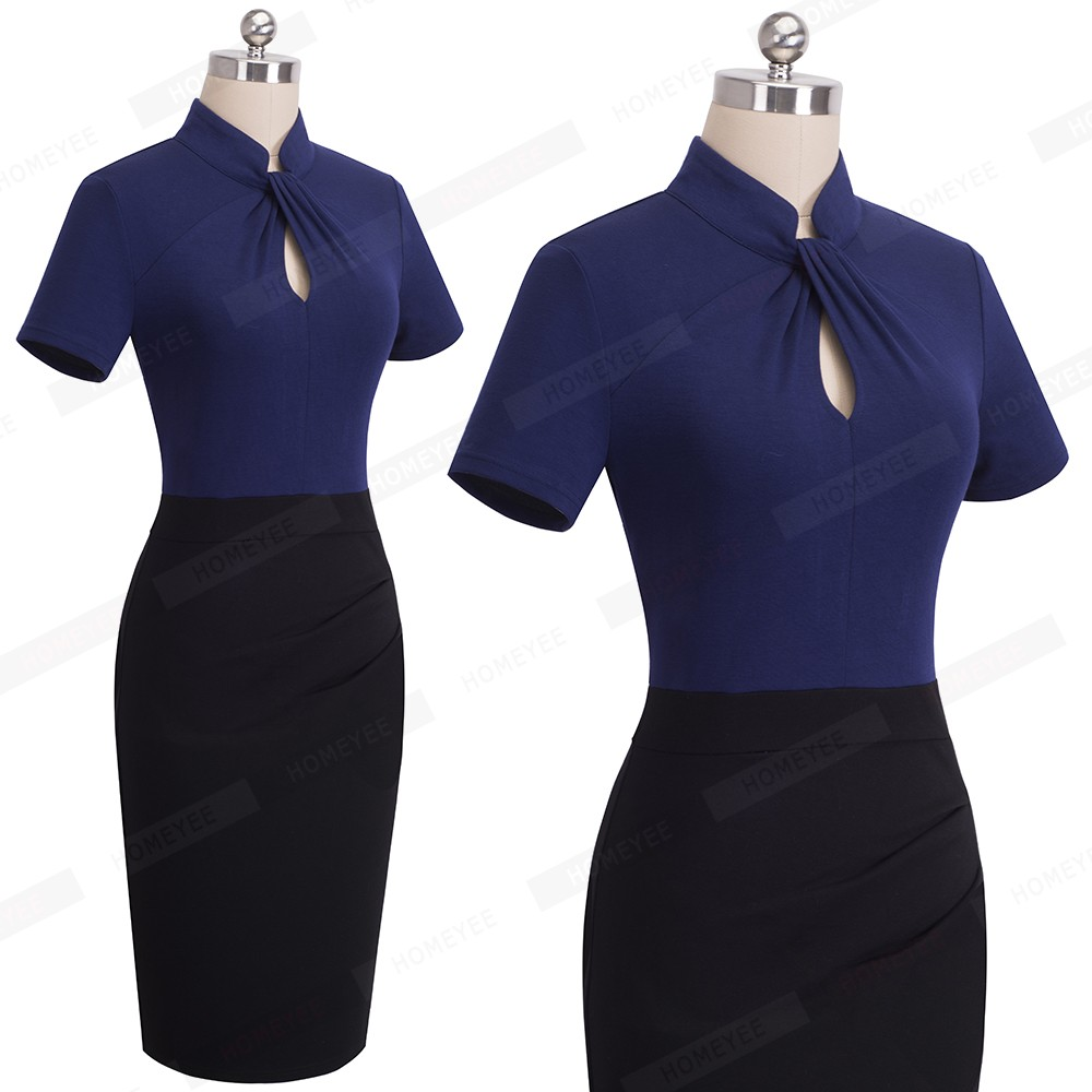 Elegant Work Office Business Drapped Contrasting Bodycon Slim Pencil Lady Dress Women Sexy Front Key Hole Summer Dress EB430 14