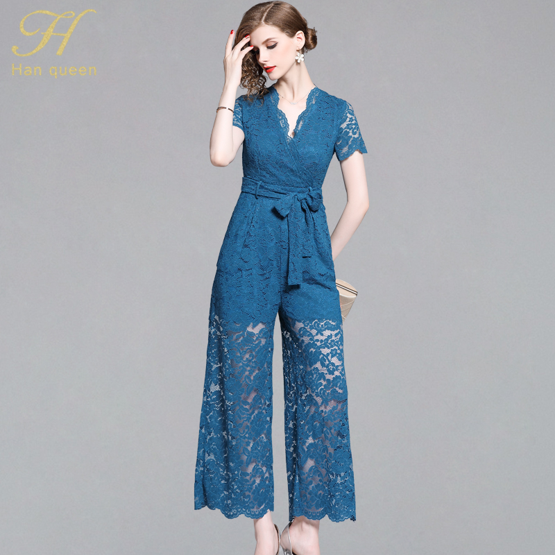 H Han Queen Women's 2019 Summer Lace Bow Bandage Rompers Epaire Waist Wide Leg Jumpsuits Hollow Out Sexy See Through Playsuits(China)