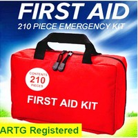 First Aid Kit with Compact and Lightweight Bag 210pcs of High Quality Emergency Material for Home/Car or Travels OSHA Compliant