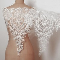Cotton Ivory Wedding Dress Lace Fabric Applique Bridal Gown Trims 3D Flower Embroidered Scallop Sewing Apparel