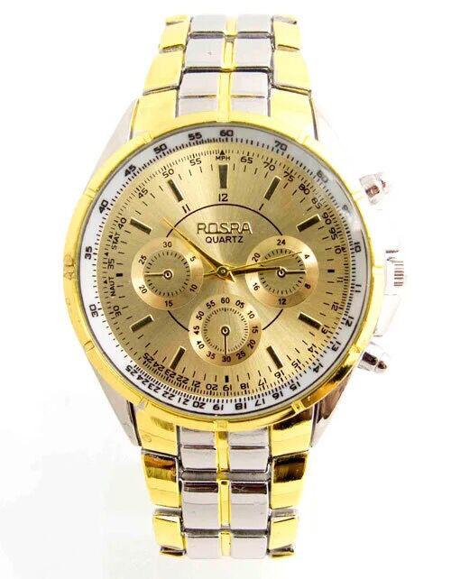 ROSRA Luxury Brand Watch Fashion Gold Watches Men Full Steel Business Quartz Watch Man Hour Clock