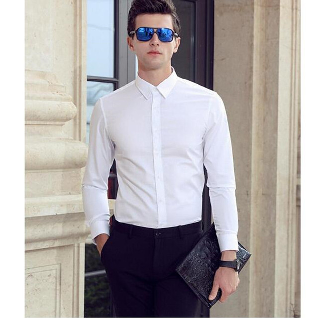 e017ca0aec Alta calidad Blanco camisa formal de negocios Camisas de traje hombres de  color sólido de manga