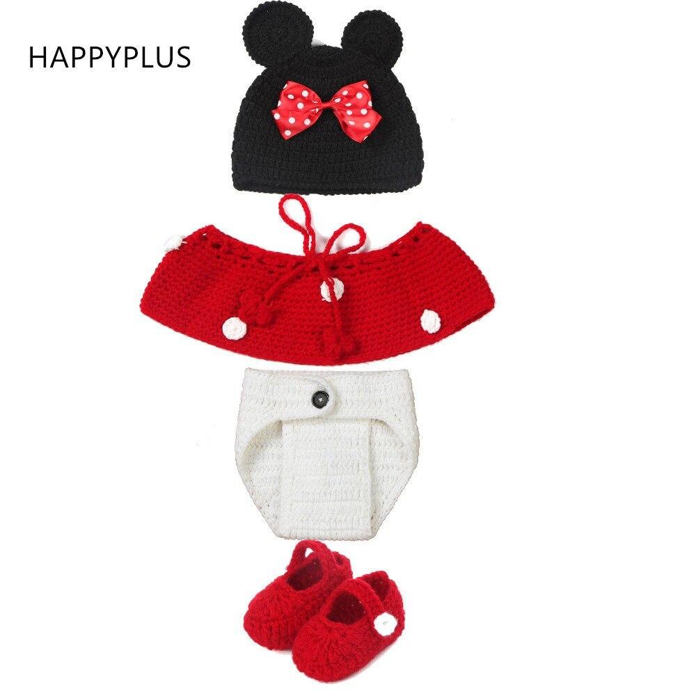 Online Shop Cute Minnie Handmade Crochet Baby Hats For Girls Photo ...