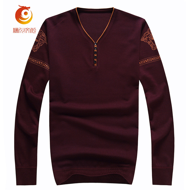 Sweater Men 2017 Wine Red Pullovers Casual Sweater Men V-Neck Flag Printing Slim Fit Knitted Mens Blue Pullover Sweaters M-XXXL
