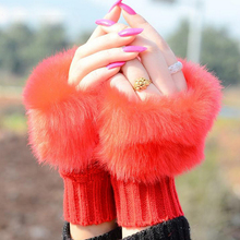 Women Fingerless Wrist Gloves Cute Faux Rabbit Fur Knitted Gloves Wint