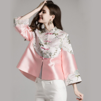 Chinese Style Tang Costume Women Retro Button Wind Tea Short Chinese Tunic Top Traditional Chinese Clothing For Women