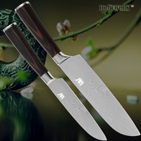 Kitchen Santoku Knives 7 Inch 5 Inch Two Piece Set Damascus Veins 7CR17 Stainless Steel High