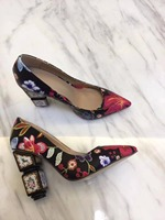 Модные женские туфли лодочки на высоком каблуке, с вышивкой, с острым носком, высокое качество, из натуральной кожи, обувь на высоком каблуке
