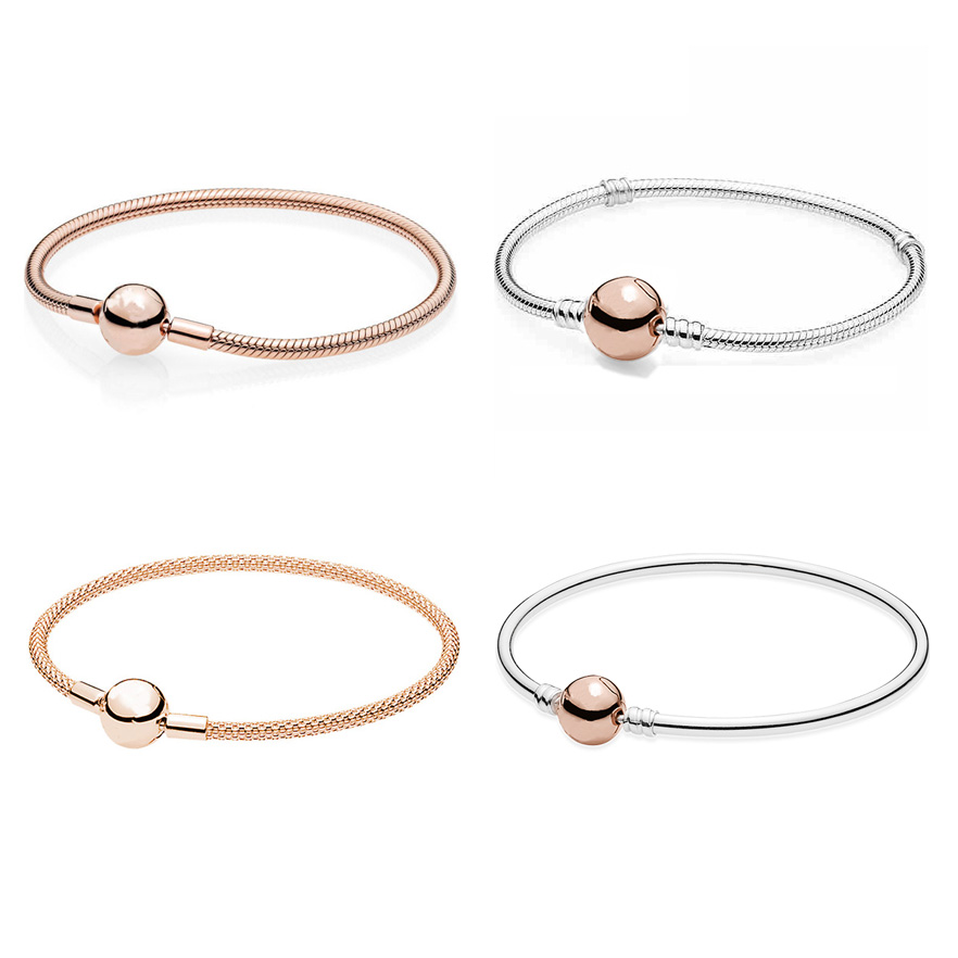 Rose Gold MOMENTS Smooth Mesh Ball Clasp Bracelet Bangle Fit Europe Snake Bracelet 925 Sterling Silver Bead Charm Jewelry