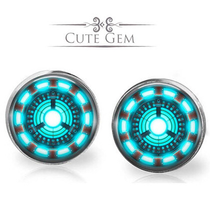 New 2015 US Movie Avengers Iron Man Tony Stark Silver Stud Earrings Women 12mm/0.47inch men earring free shipping Dr Who Jewelry