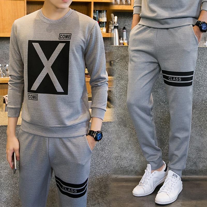 Men Sportwear Sets O-Neck Tracksuit Male Sweatshirt Full Long Sleeve Pants Casual Sportsuit Men Sets 2pcs Fashion Jogger Clothes