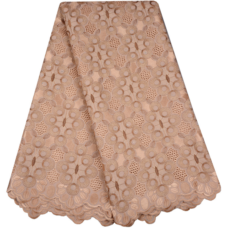Latest African Lace 2018 Swiss Cotton Dry Lace Fabric High Quality Swiss Lace Material With Stones
