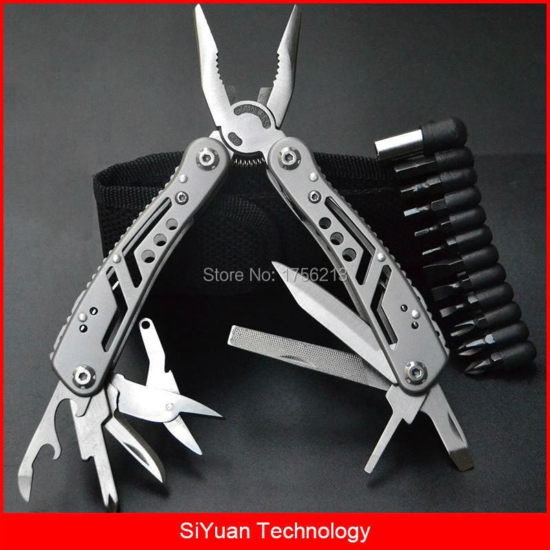 Multitool Plier Portable Multi Functional Tool with Knife Scissor Bottle Opener with 11 Screwdriver Bit for Camping Travel