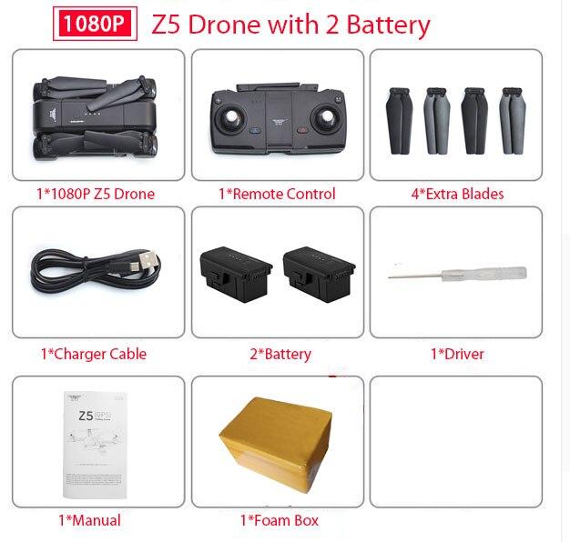SJ Z5 Drone with Camera 1080P GPS Drone 2.4G/5G Wifi FPV Altitude Hold Quadrocopter Follow Me RC Quadcopter vs E58 X12 XS812