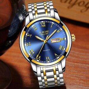 Image 2 - Luik Luxe Merk Mannen Roestvrij Staal Gouden Horloge Heren Quartz Klok Man Sport Waterdichte Horloges Relogio Masculino