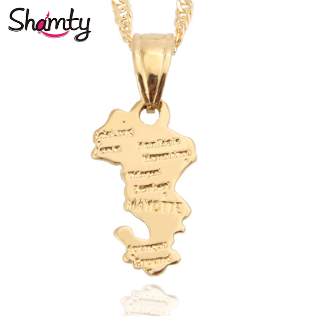 Shamty Territorial Collectivity Of Mayotte Map Pendants Necklace