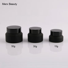 wholesales 6PCS 15g/30g/50g matte frosted black Upscrew Cap lid cover Glass Jar cosmetic container cream Bottle makeup container