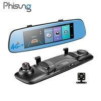 Phisung E06 4G Видеорегистраторы для автомобилей 7,84 Touch ADAS Remote Monitor Зеркало заднего вида с dvr и камера Android два объектива 1080 P WI FI dashcam