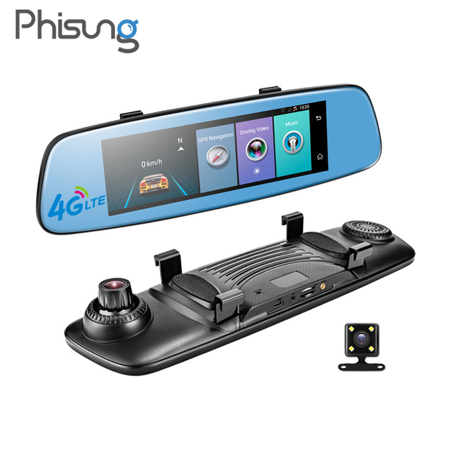 """Phisung E06 4G Auto DVR 7.84 """"Touch ADAS Remote Monitor achteruitkijkspiegel met DVR en camera Android dual lens 1080P WIFI dashcam"""