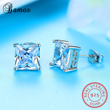 Bamos New Fashion Square Stud Earring High Quality Real 925