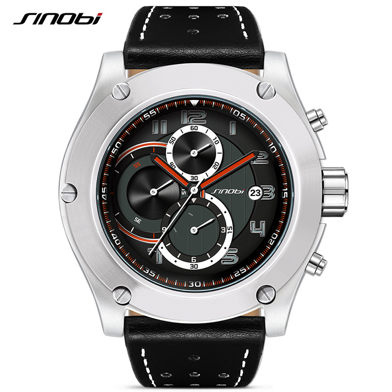2018 SINOBI New Chronograph Date Waterproof Leather Good Design Big Dial Sports Reloj Watch Men Geneva Military Quartz Clock geneva cool dial three movt men quartz watch