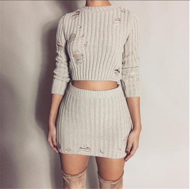 Women Autumn Solid Crop Top  Bodycon Dress Sexy 2 Piece Set Hole Fashion Hollow Out Ladies Knitted Two Piece Suit