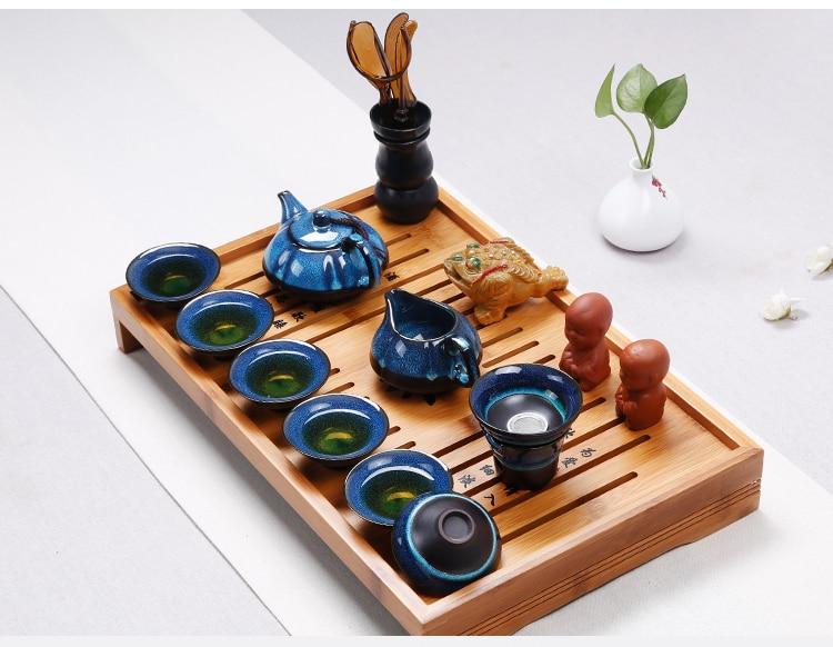 Nouveauté thé chinois Set thé cérémonie accessoires céramique huile gouttes bleu ambre glaçure Kung Fu thé ensemble thé bouilloire tasse ensemble - 4