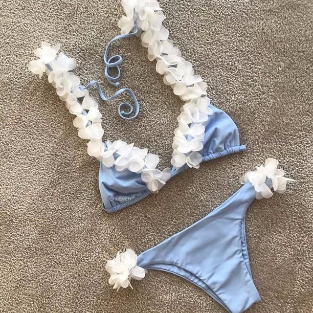 53253ce1d506 Women Sexy Bikini Set Floral Print Swimwear Brazilian Biquini Two Pieces  Swimsuit Halter Bathing Suit Beachwear Female Swim Wear