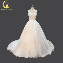 JIALINZEYI Real Picture spaghetti strap Leaf with Beads Sexy Top Little see through A-line Bridal Wedding Dresses Wedding Gown